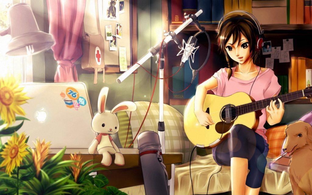 Девушка в наушниках с ноутбуком