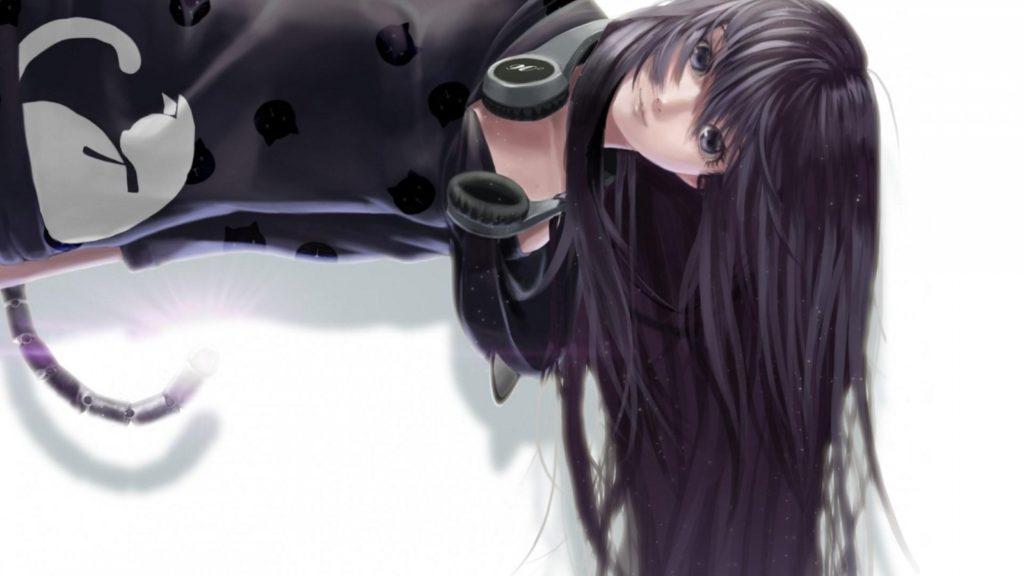 Девушка в накладных наушниках Sony