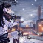 Девушка в наушниках зимой