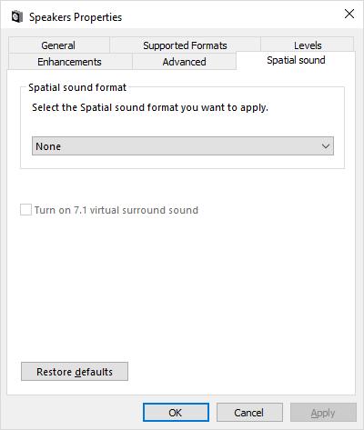 Настройка виртуального пространственного звука в Windows 10