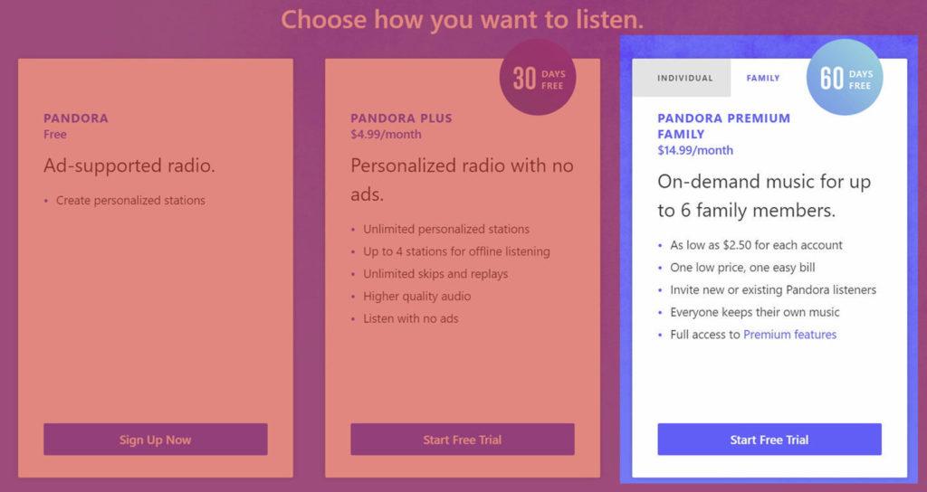 Семейная подписка за 15 долларов в месяц в Pandora