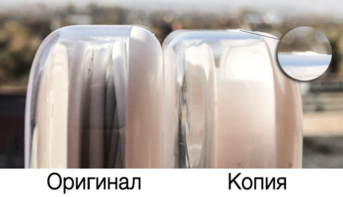 Сравнение качества сборки оригинальной упаковки наушников EarPods и поддельной