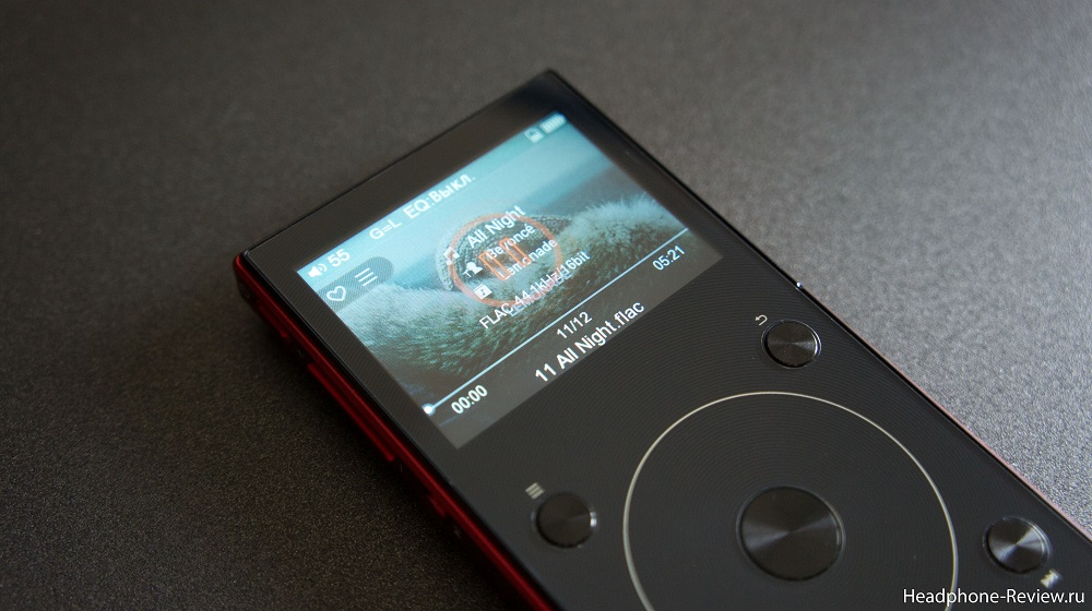 Экран плеера FiiO X3 Mark III во время воспроизведения музыки