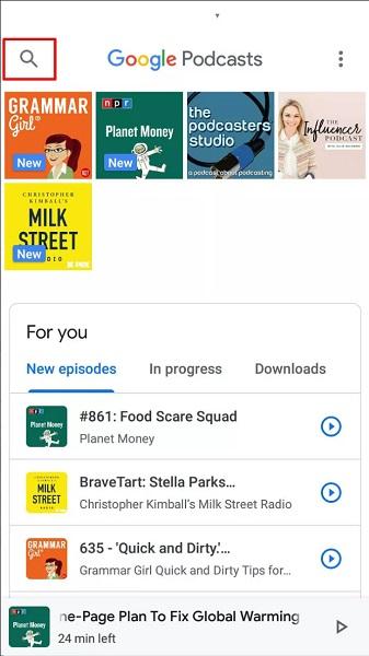 Поиск подкастов в приложении Google Podcasts