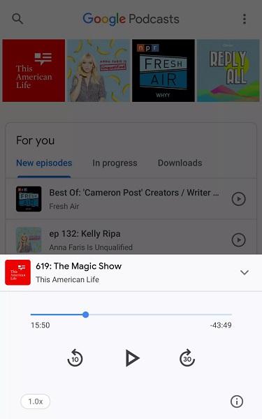 Кнопки управления воспроизведением в Google Podcasts