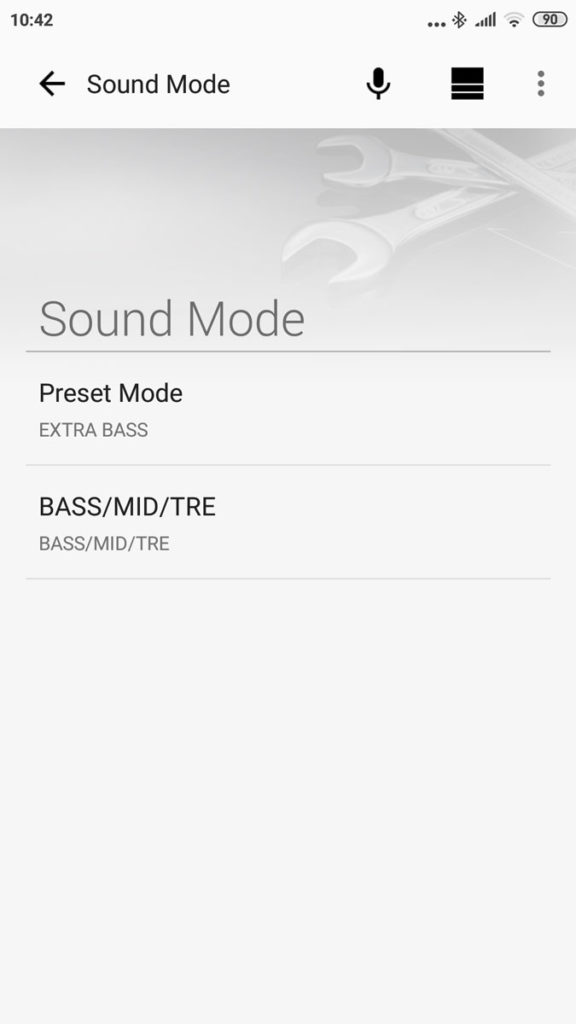 Изменение звука в приложении Sony Music Center